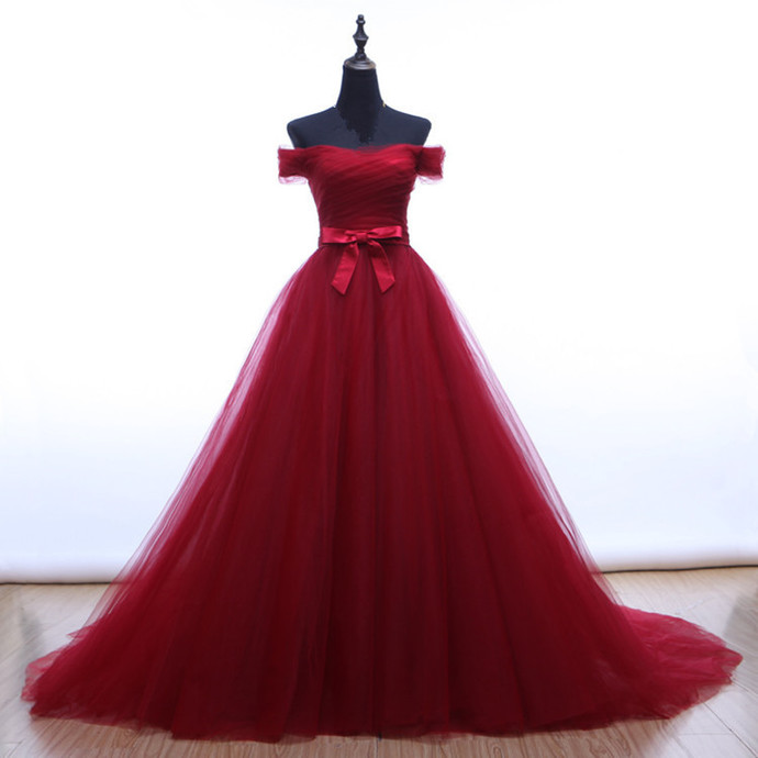 Burgundy Off Shoulder Sweet 16 Gown, Tulle Party Dresses 2019