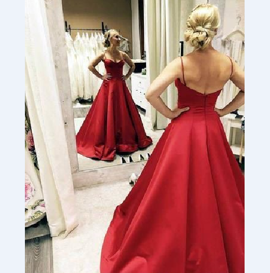 Red Prom Dress,Satin Prom Gown,Spaghetti Straps Prom Dress,A-Line Prom Gown 9888
