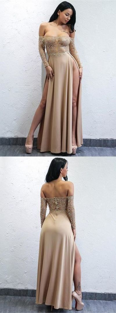 A-Line Off-the-Shoulder Long Sleeves Champagne Prom Dress with Split Slit, Sexy