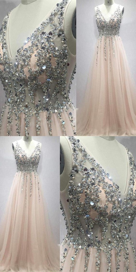 Deep V Neck Long Tulle Peach Prom Dresses With Sequins And Beads