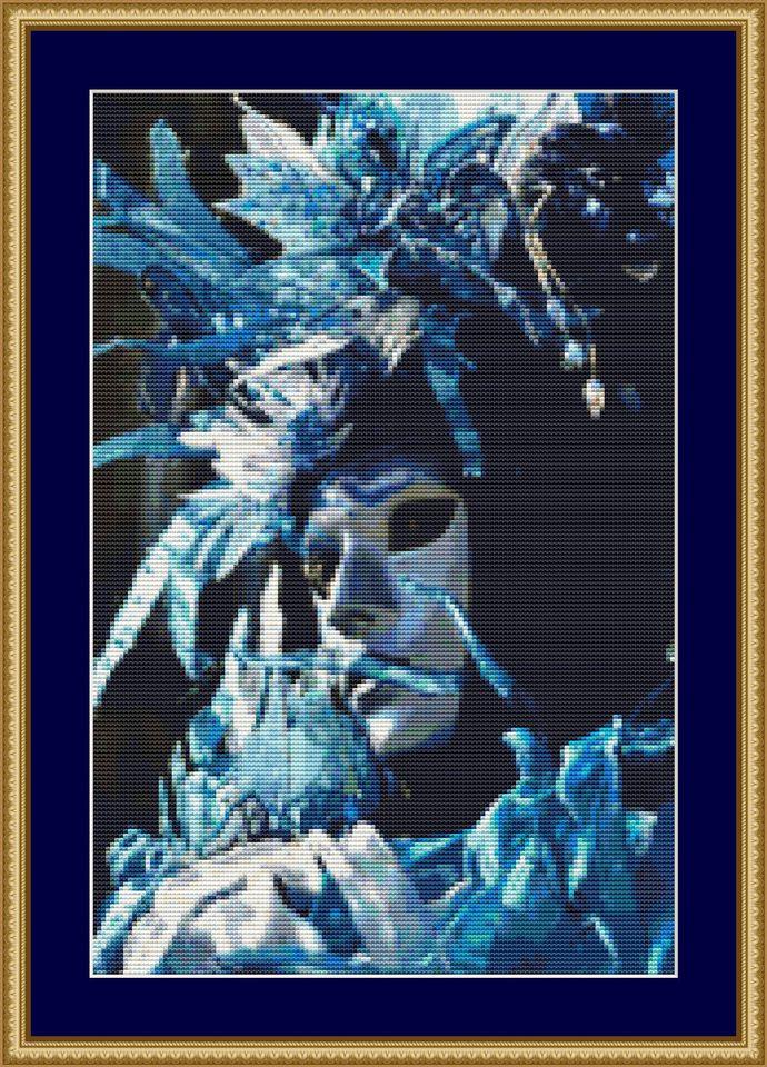 All In Blue Cross Stitch Pattern - Instant Digital Downloadable Pattern