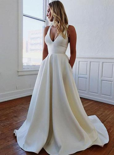 V Neck Open Back Long Prom Dress With Bowknot, White Satin Wedding Dresses