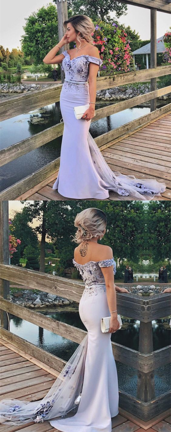 Sexy Off Shoulder Long Jersey Mermaid Bridesmaid Dresses With Lace Flowers