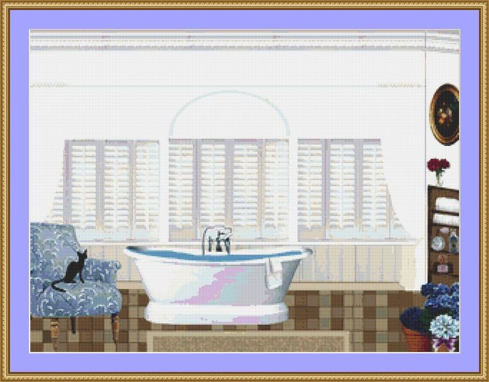 Cat Sitting In The Bathroom Cross Stitch Pattern - Instant Digital Downloadable