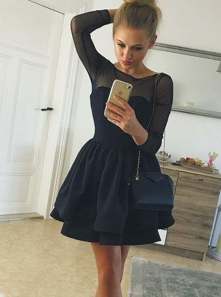 Black Long Sleeve Pleated Stain Homecoming Dresses
