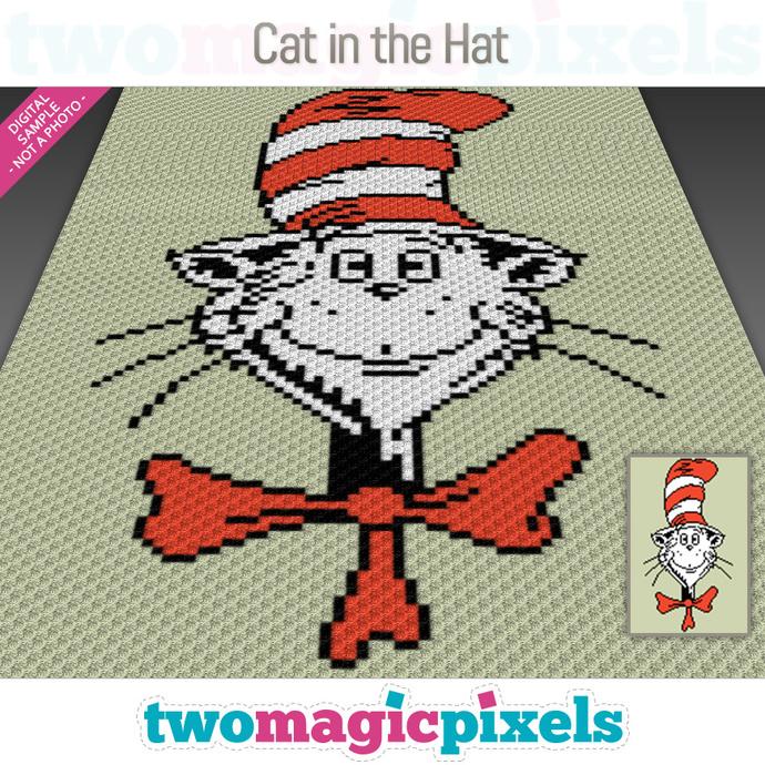 Cat In The Hat crochet graph (C2C, Mini C2C, SC, HDC, DC, TSS), cross stitch;