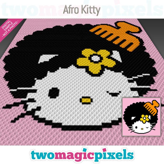 Afro Kitty crochet graph (C2C, Mini C2C, SC, HDC, DC, TSS), cross stitch; PDF