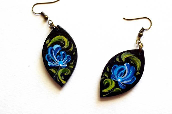 Black earrings Wooden bijouterie Folk style Figure on earrings  painted earrings