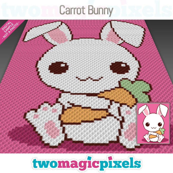 Carrot Bunny crochet graph (C2C, Mini C2C, SC, HDC, DC, TSS), cross stitch; PDF