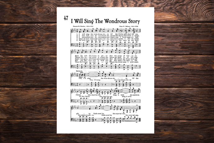 I WILL SING THE WONDROUS STORY Vintage Verses Printable Sheet Music Wall Art