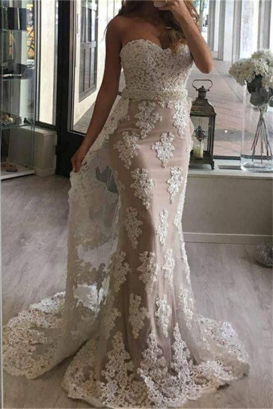Chicloth Tulle Appliques Pearl Prom Dresses Mermaid Beaded Sweetheart with Train