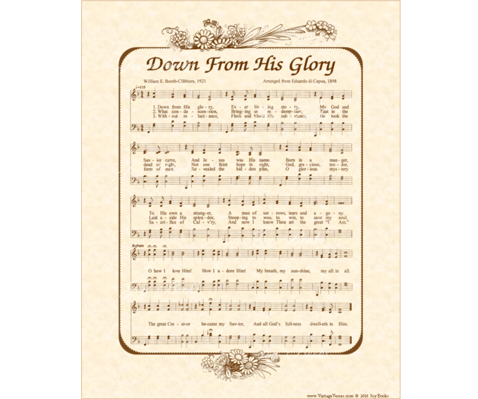 DOWN FROM HIS GLORY Vintage Verses DIY Print It Yourself Sheet Music Wall Art