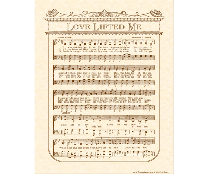 LOVE LIFTED ME Vintage Verses DIY Print It Yourself Sheet Music Wall Art Antique