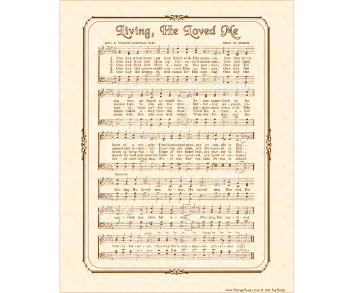 LIVING HE LOVED ME Vintage Verses DIY Print It Yourself Sheet Music Wall Art