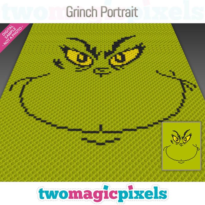 Grinch Portrait crochet graph (C2C, Mini C2C, SC, HDC, DC, TSS), cross stitch;