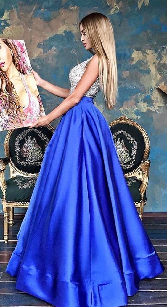 Gorgeous Royal Blue Satin Long Prom Dress 2019, Formal Evening Dress