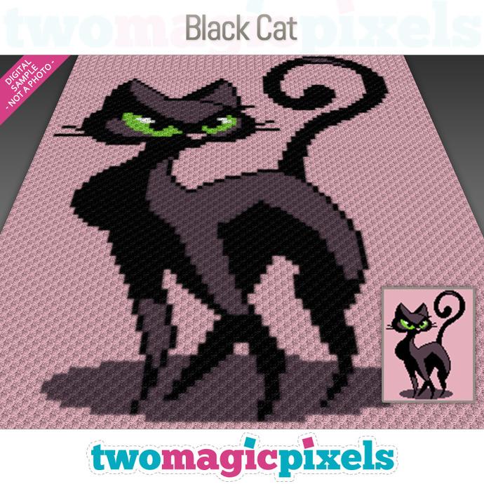 Black Cat crochet graph (C2C, Mini C2C, SC, HDC, DC, TSS), cross stitch; PDF