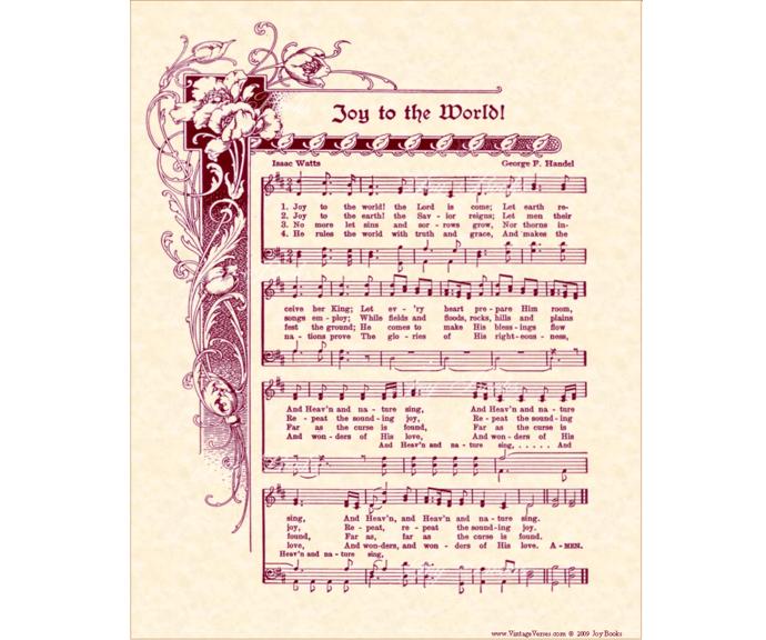 JOY TO THE WORLD Christmas Carol Vintage Verses Sheet Music Wall Art Holiday