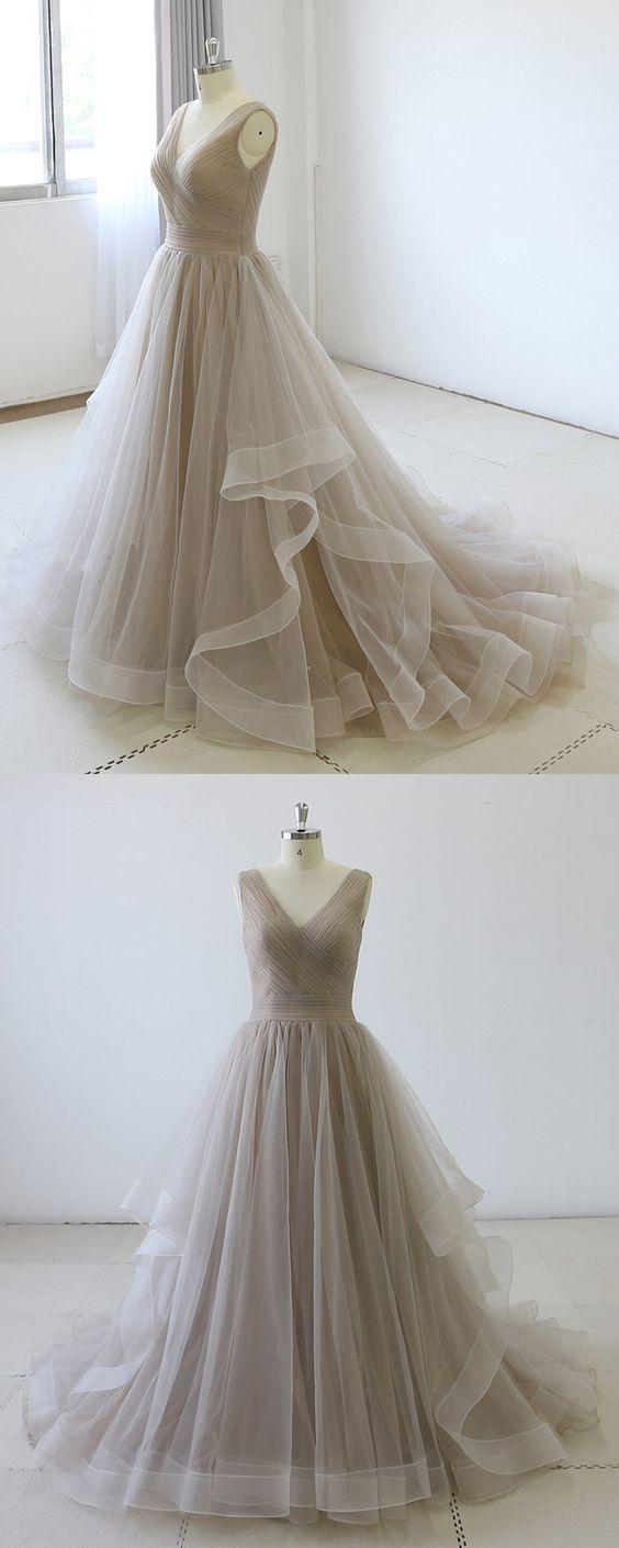 Gray Tulle V Neck Long Open Back Evening Dress, Formal Prom Dress