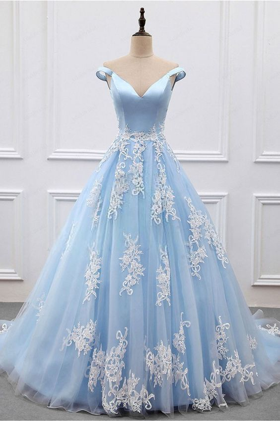 Ball Gown Lace Off-the-Shoulder Long Blue Prom Dresses Formal Evening Dresses
