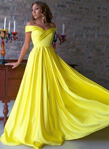 Spring Yellow Satin Off The Shoulder Long Prom Dress, Bridesmaid Dress