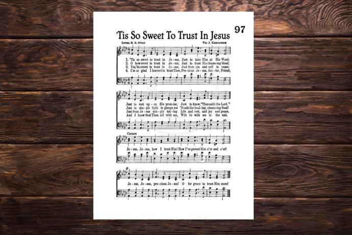 TIS SO SWEET TO TRUST IN JESUS Vintage Verses Printable Sheet Music Wall Art