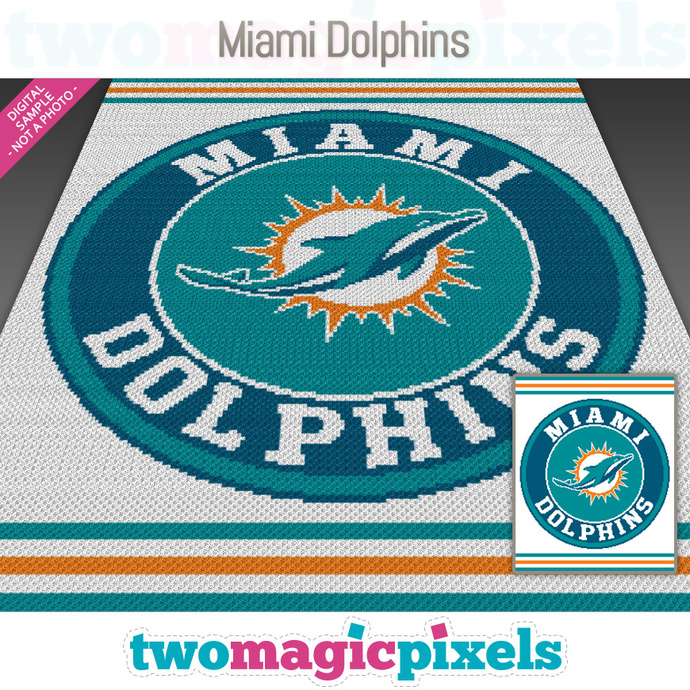 Miami Dolphins crochet graph (Mini C2C, SC, HDC, DC, TSS), cross stitch