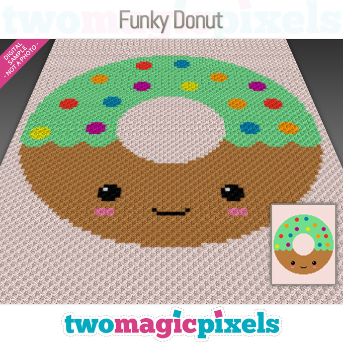Funky Donut crochet graph (C2C, Mini C2C, SC, HDC, DC, TSS), cross stitch; PDF