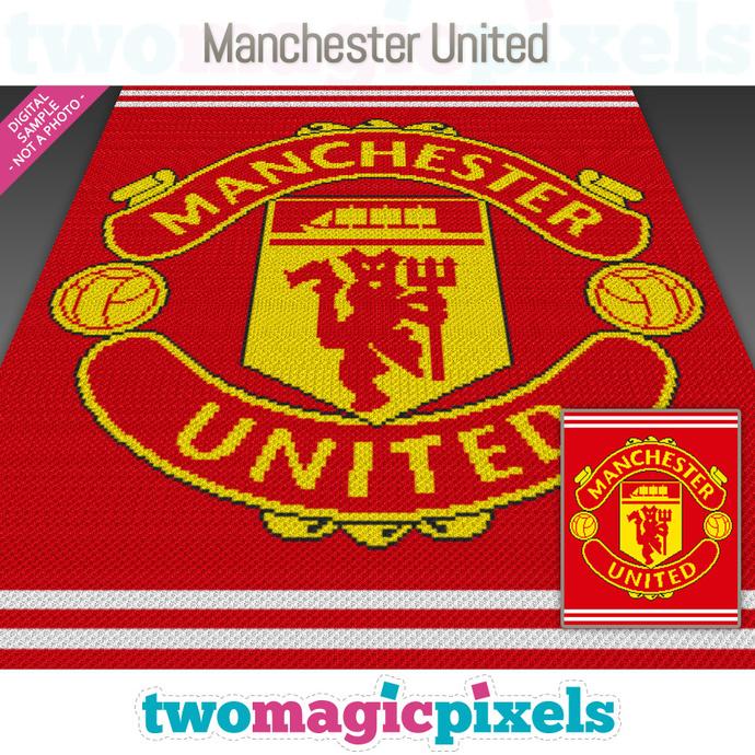 Manchester United crochet graph (Mini C2C, SC, HDC, DC, TSS), cross stitch; PDF