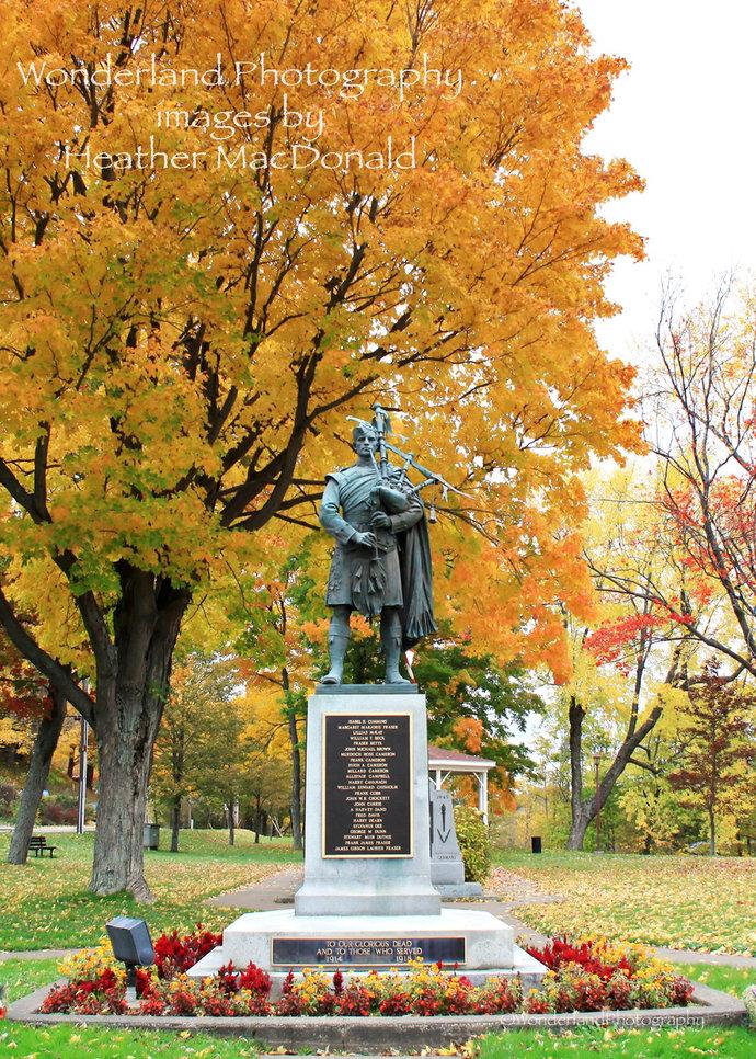Fall Leaves Carmichael Park Monument Photograph 5x7 Matted Print