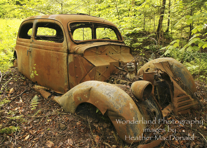 Rusted Antique Car Photograph 5x7 Matted Print