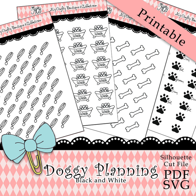 """""""Doggy Planning Black and White"""" Printable Download"""