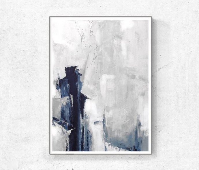 Grey Abstract Wall Art, Set of 3 Prints, Modern Abstract Art, blue and grey Art,