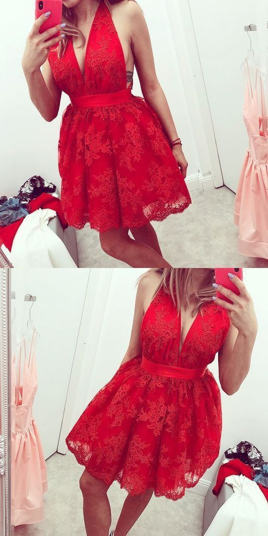 Red V Neck Sleeveless Short Homecoming Dresses Lace Cocktail Dresses
