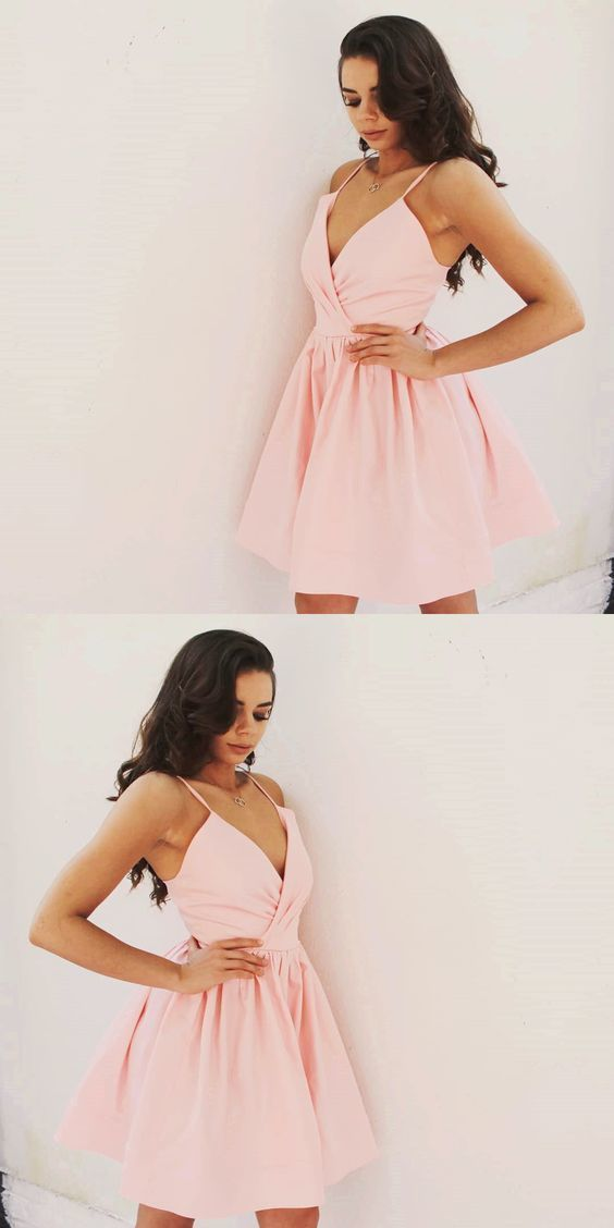 Charming Pink Prom Dress, Sexy Sleeveless Cute Short Party Dress