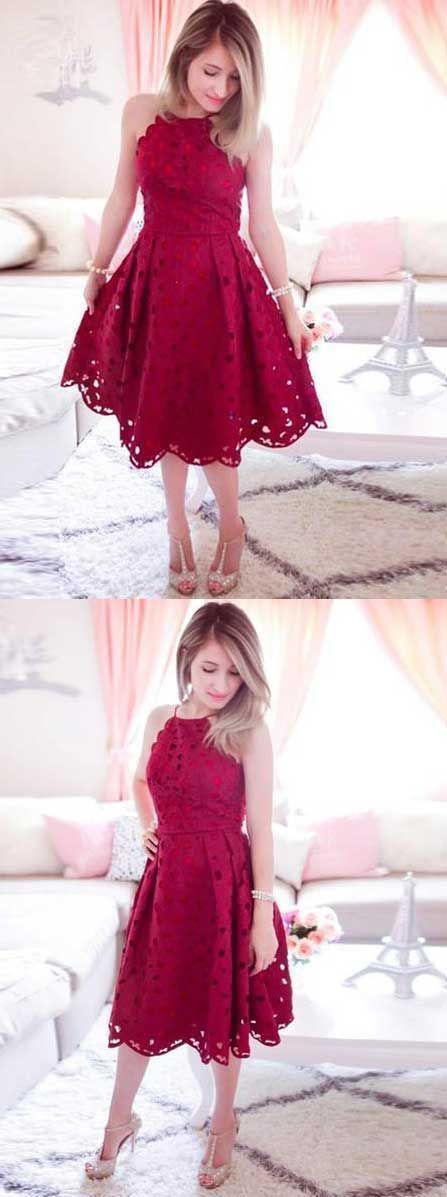 Romantic red lace homecoming dress, short prom dress, spaghetti strap homecoming