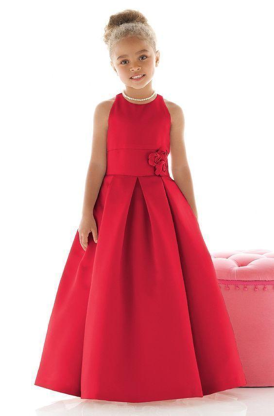 Simple Red Satin Scoop Neckline Flower Girl Dress