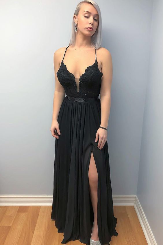 Black Long Prom Dress with Lace top Evening Dress