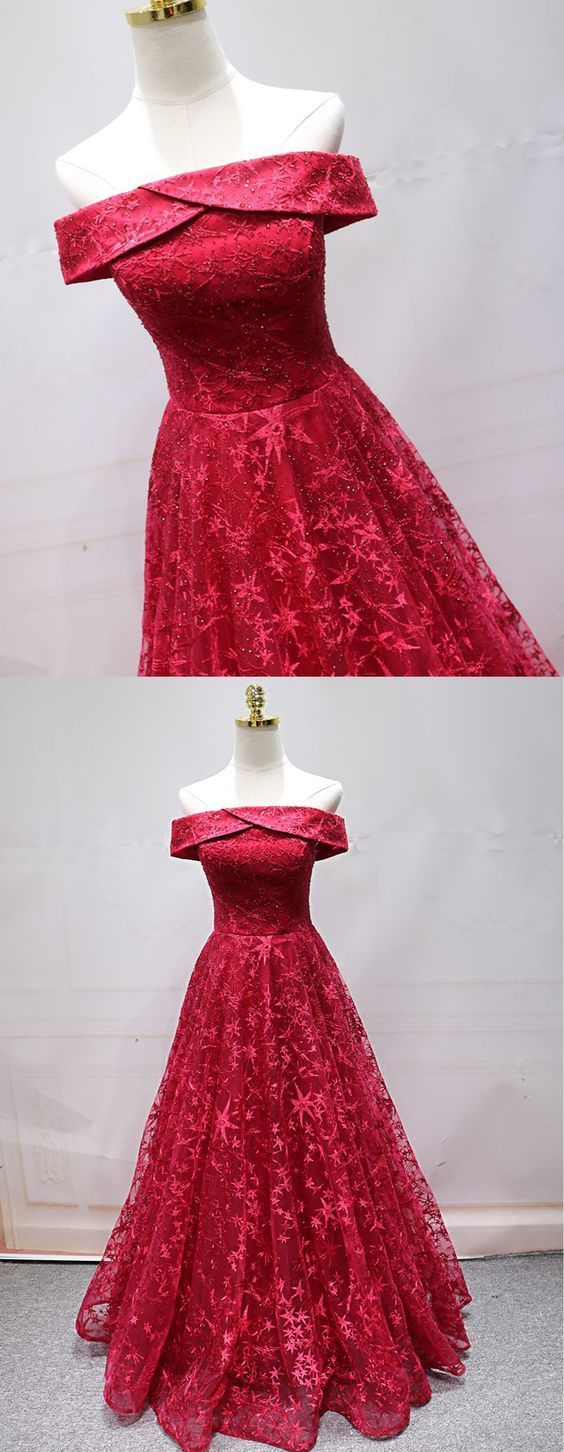 Off the Shoulder Red Tulle Prom Dress, Appliques Formal Evening Dress with Beads