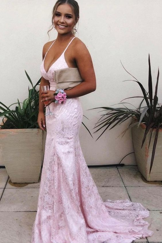 Mermaid  Lace Backless V Neck Long Prom Dresses,Cheap Evening Dresses