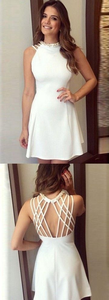A-Line Homecoming Dress, Open Back Homecoming Dress, White Homecoming Dress,