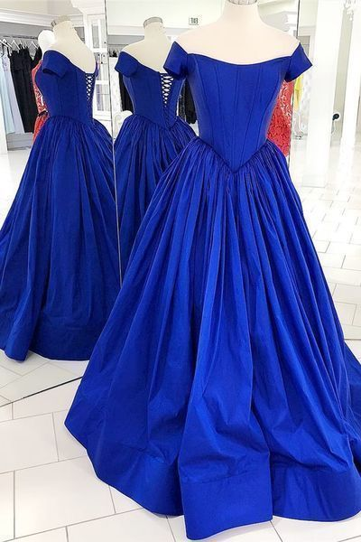 Off the Shoulder Royal Blue Prom Dress