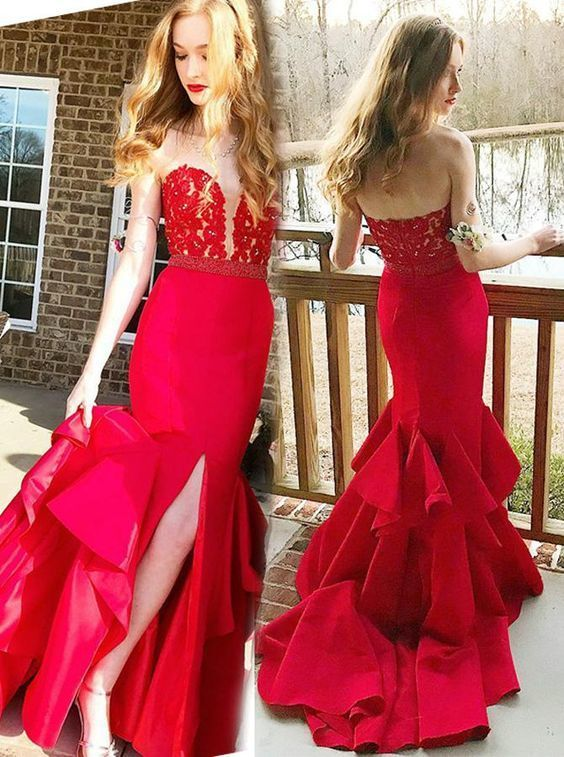 Gorgeous Mermaid Prom Gown,Red Evening Dress with Slit,Strapless Fitted Prom