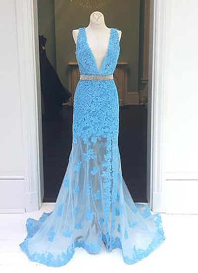 Charming Blue Appliques Mermaid Prom Dress, Blue Long Evening Dress, Formal Gown
