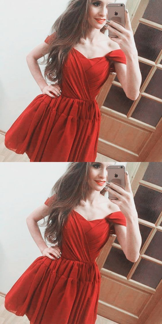 A-Line Off the Shoulder Pleated  Chiffon Homecoming Dress