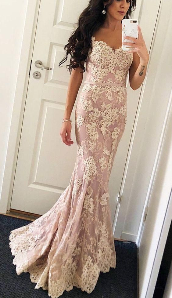 Elegant Mermaid V-neck Evening Gowns Floor Length Lace Prom Dresses