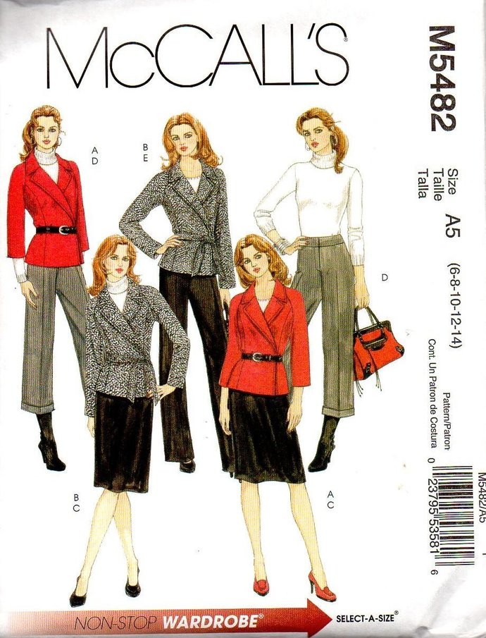 McCall's 5482 Misses Wrap Jacket, Skirt, Pants Sewing Pattern Size 6, 8, 10, 12,