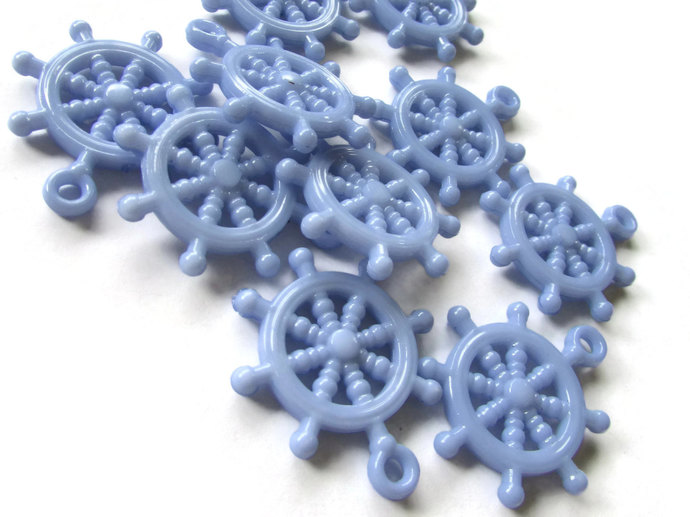 10 Periwinkle Blue Ship Helm Charm Ship Wheel Bead Nautical Charms Plastic Beads