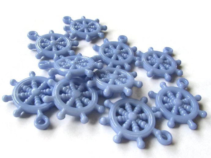 10 Periwinkle Blue Ship Helm Charm Ship Wheel Bead Nautical Charms Plastic Beads