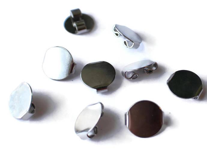 16mm Bolo Tie Slide with Disc Silver Tone White Plated Bolo Clasp Bolo Slide Tie